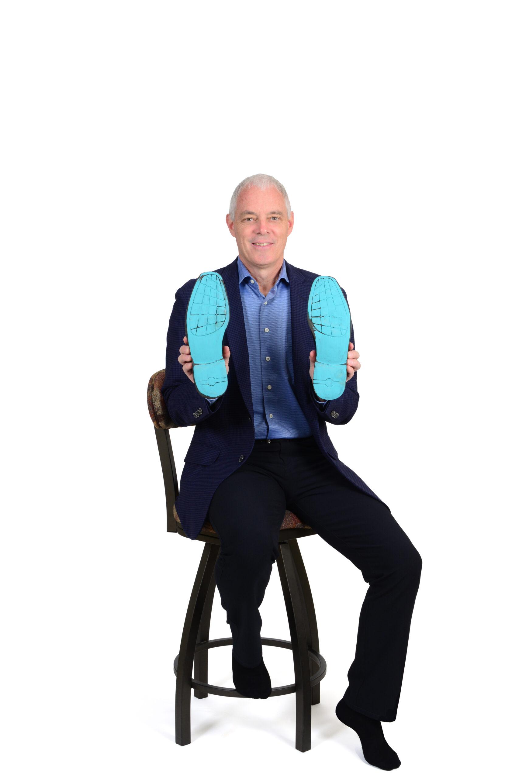 Jim Scott showing his sole