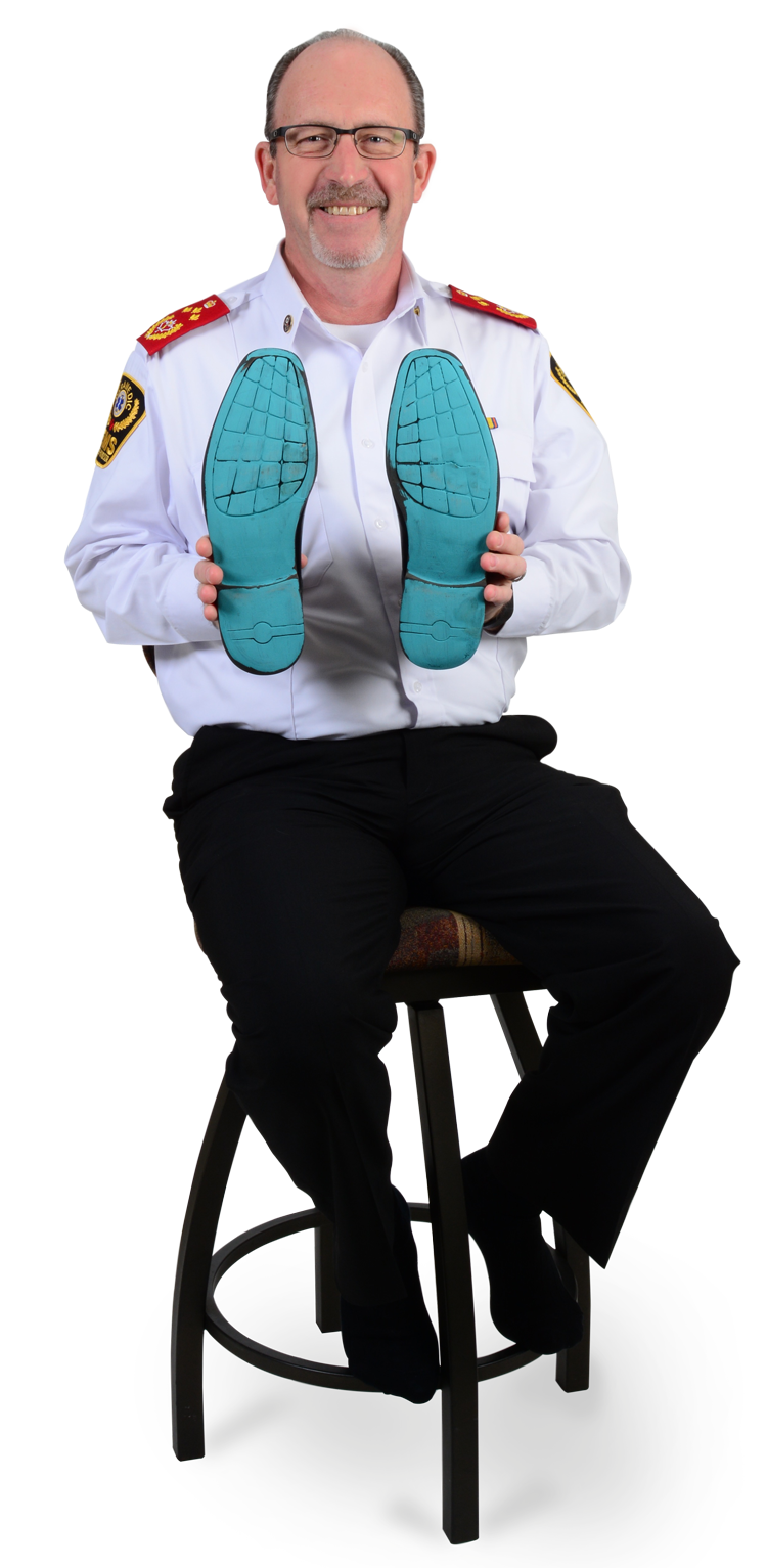 Chief Bruce Krauter showing his sole