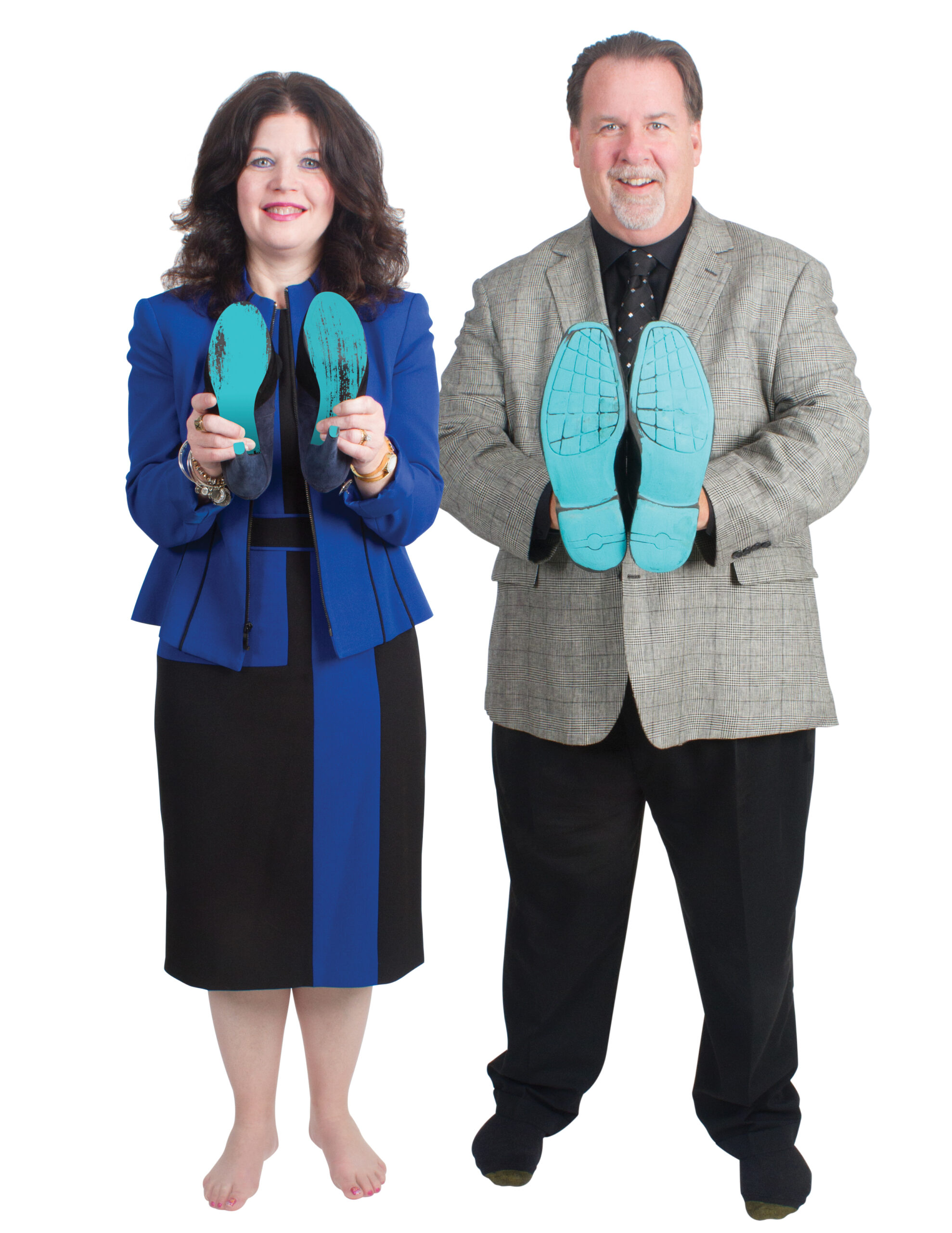Patti France & John Fairley showing their soles