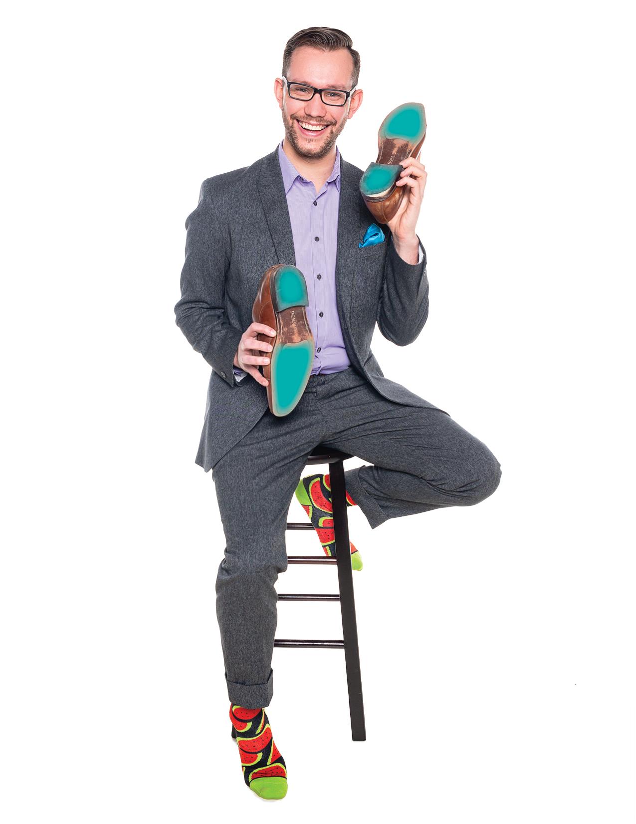 Sean Penhale showing his sole